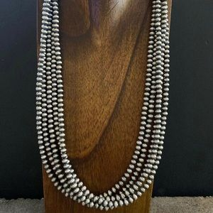 Jewelry - S.S.Multi Strand 5mm Navajo Pearls Bead Necklace.